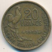 20 франков 1952 год. Франция. Петух