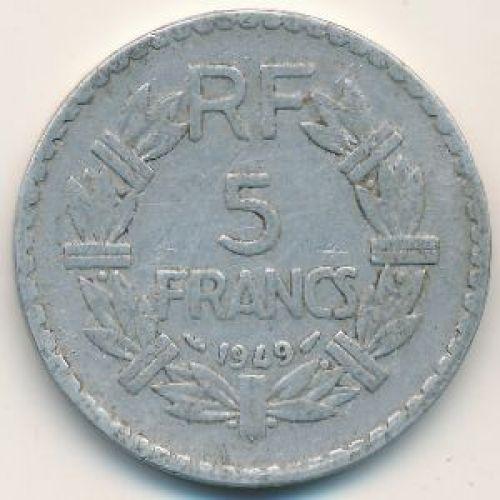 5 франков 1949 год. Франция. Без букв
