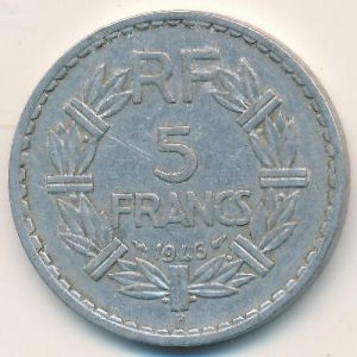 5 франков 1946 год. Франция. B
