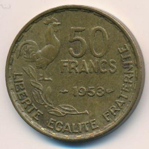 50 франков 1953 год. Франция. Петух