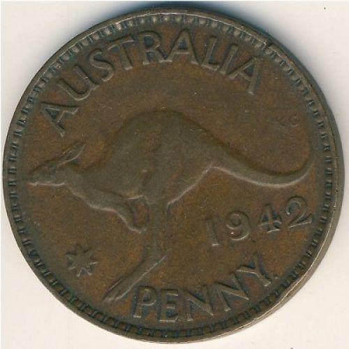 1 пенни 1942 год. Австралия. (p) Perth