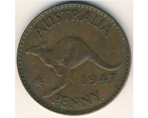 1 пенни 1947 год Австралия (p) Perth