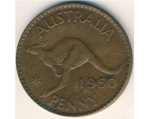 1 пенни 1950 год. Австралия. (m) Мельбурн