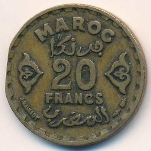 20 франков 1951 год. Марокко - 1371