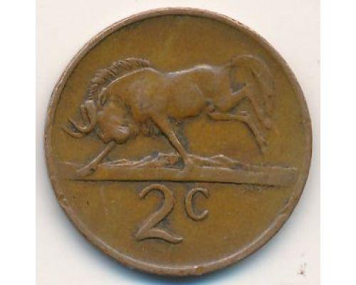 2 цента 1983 год ЮАР Антилопа Гну