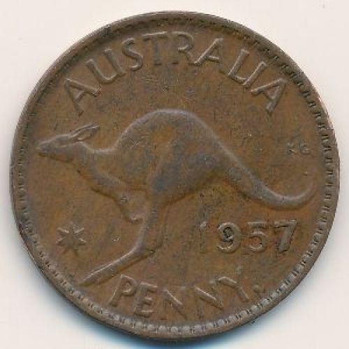 1 пенни 1957 год. Австралия. (p) Perth