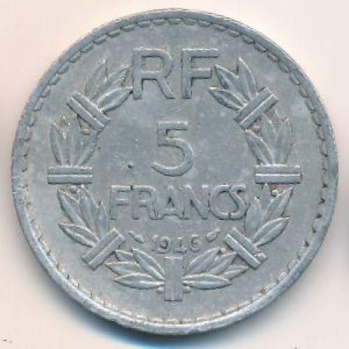 5 франков 1946 год. Франция. Без букв
