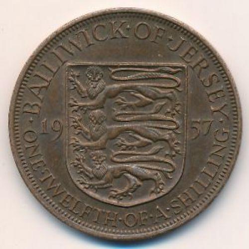 1/12 шиллинга 1957 год Джерси. Елизавета II