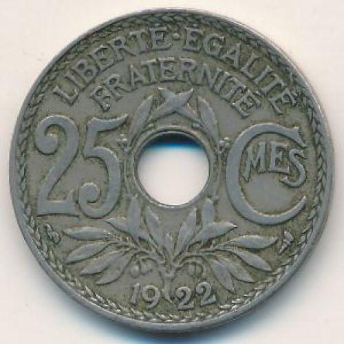 25 сентим 1922 год Франция (сантим)