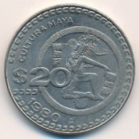 20 песо 1980 год Мексика
