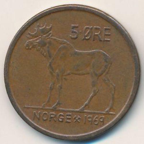 5 эре 1969 год. Норвегия. Лось