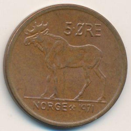 5 эре 1971 год. Норвегия. Лось