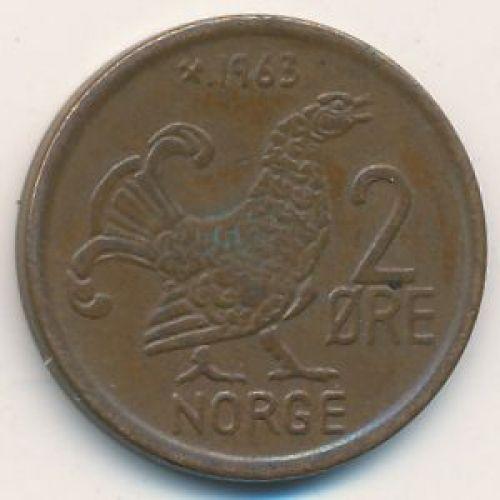 2 эре 1963 год. Норвегия. Шотландская куропатка