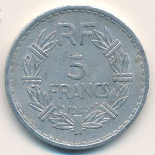 5 франков 1945 год. Франция. Без букв