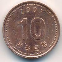 10 вон 2007 год Южная Корея