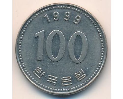 100 вон 1999 год. Южная Корея