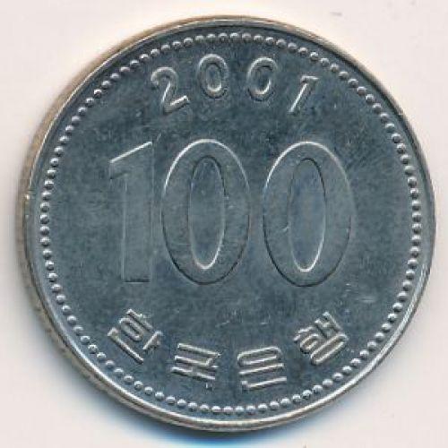 100 вон 2001 год. Южная Корея