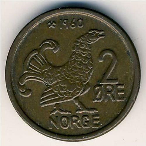 2 эре 1960 год. Норвегия. Шотландская куропатка