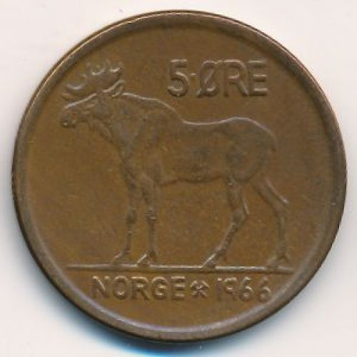 5 эре 1966 год. Норвегия. Лось
