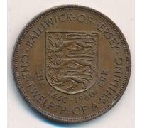 1/12 шиллинга 1960 год Джерси 300 лет Чарльз II