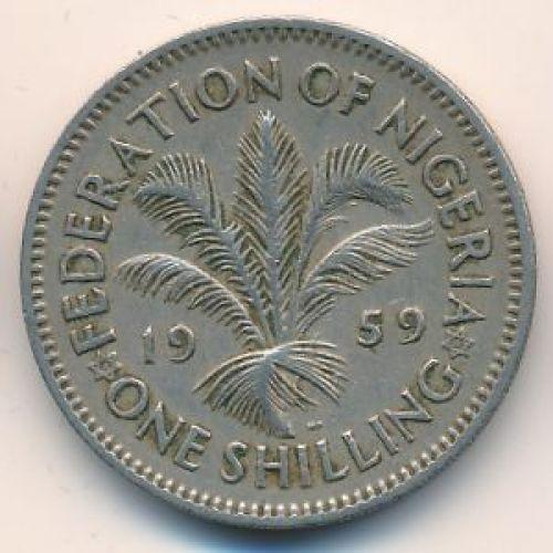 1 шиллинг 1959 год Британская Нигерия. Елизавета II