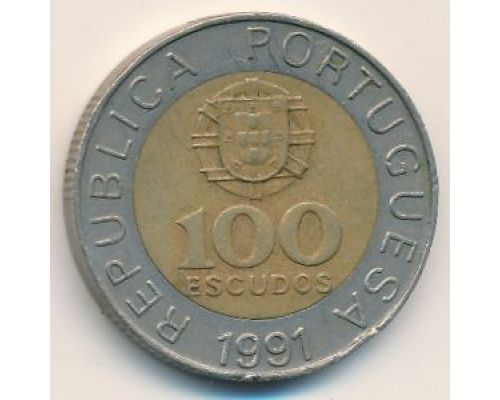 100 эскудо 1991 год Португалия Педро Нуниш