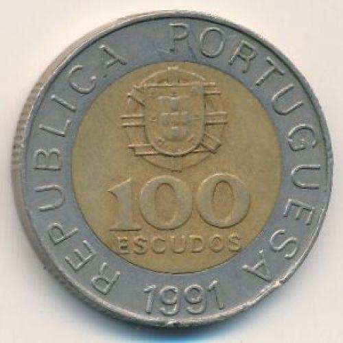 100 эскудо 1991 год. Португалия. Педро Нуниш
