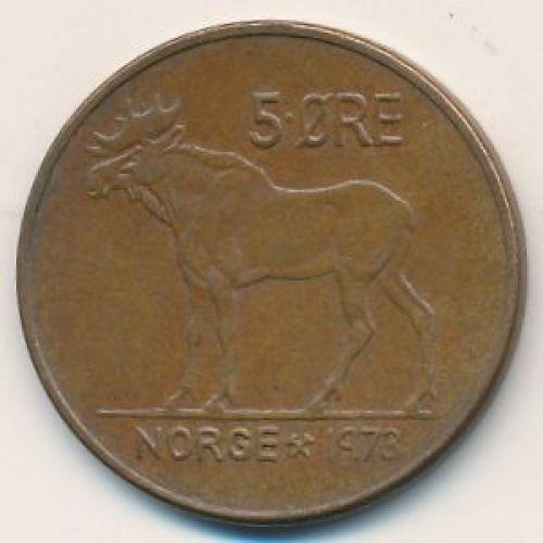 5 эре 1973 год. Норвегия. Лось