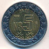 5 новых песо 1993 год. Мексика