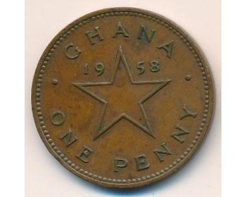 1 пенни 1958 год Гана Кваме Нкрума