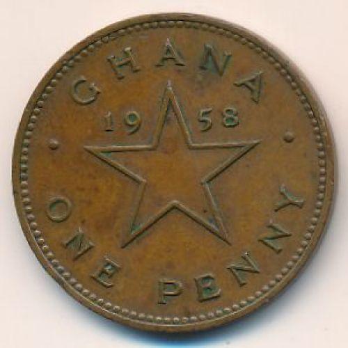 1 пенни 1958 год Гана. Кваме Нкрума