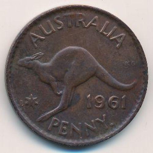 1 пенни 1961 год. Австралия. (p) Perth