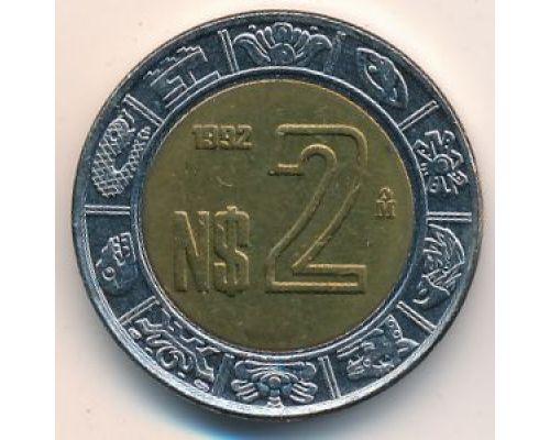 2 новых песо 1992 год. Мексика