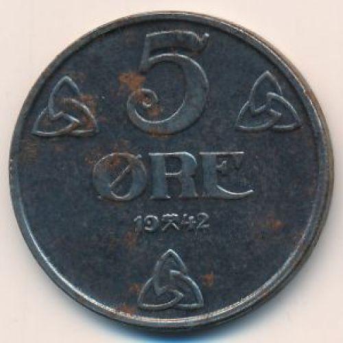 5 эре 1942 год. Норвегия. Оккупация