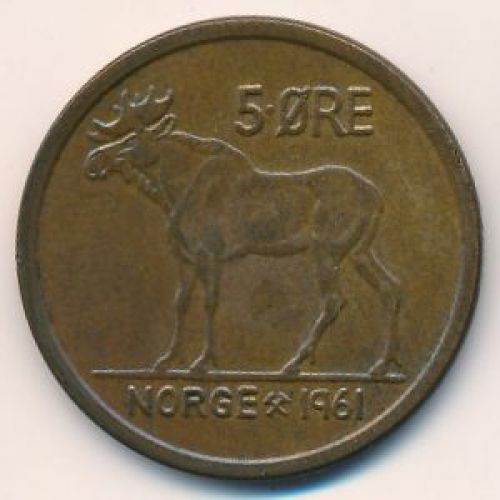5 эре 1961 год. Норвегия. Лось