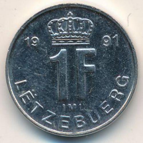 1 франк 1991 год Люксембург