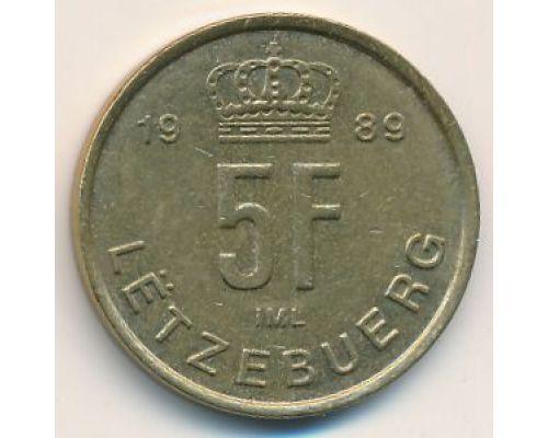 5 франков 1989 год Люксембург
