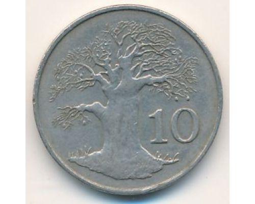 10 центов 1980 год Зимбабве Баобаб
