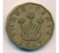 3 пенса 1942 год Великобритания Георг IV