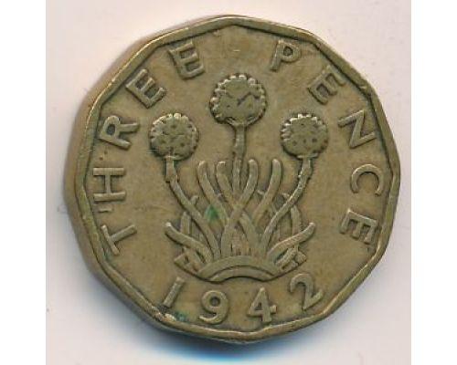 3 пенса 1942 год. Великобритания. Георг IV
