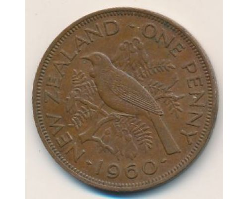 1 пенни 1960 год Новая Зеландия Новозеландский туи