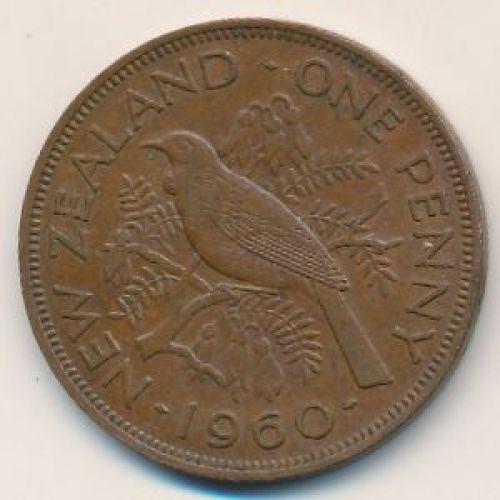 1 пенни 1960 год Новая Зеландия. Новозеландский туи
