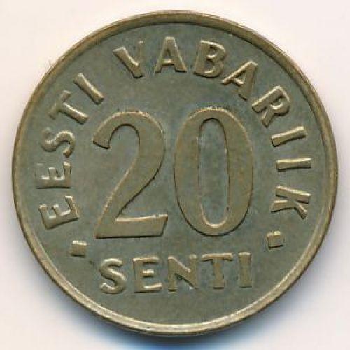 20 сентов 1992 год Эстония