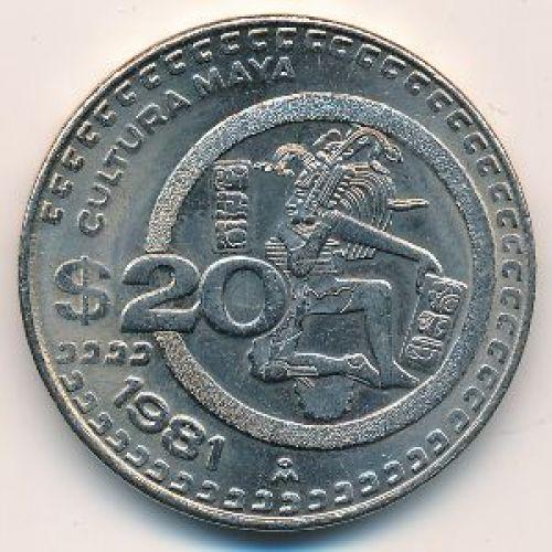 20 песо 1981 год. Мексика