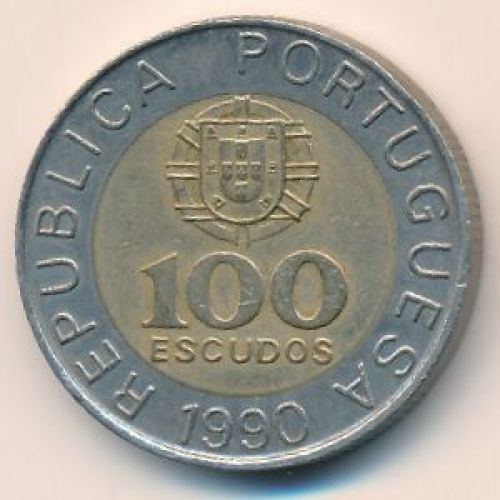 100 эскудо 1990 год. Португалия. Педро Нуниш