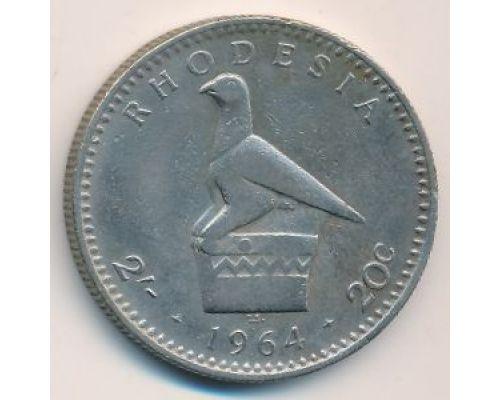 2 шиллинга - 20 центов 1964 год Родезия. Елизавета II