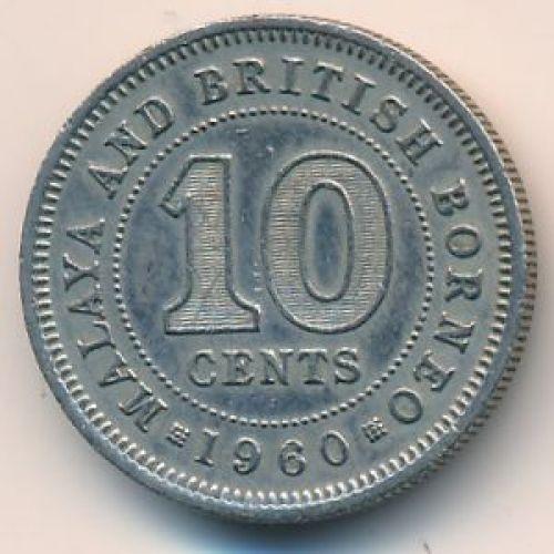 10 центов 1960 год. Малайя и Британское Борнео. Елизавета II