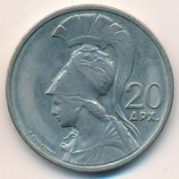 20 драхм 1973 год. Греция. Богиня Афина