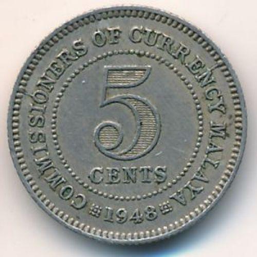 5 центов 1948 год. Британская Малайя. Георг VI