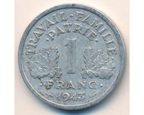 1 франк 1943 год Франция состояние VG